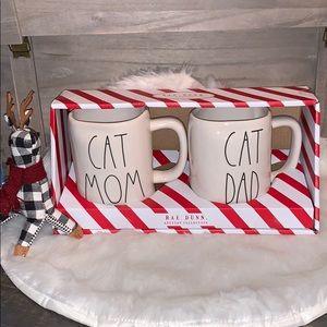 🎄🆕Rae Dunn CAT MOM CAT DAD Mug Set